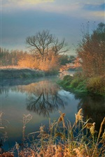 Preview iPhone wallpaper Autumn, river, trees, fog, morning
