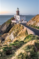 Preview iPhone wallpaper Baily lighthouse, Dublin, Ireland, road, sea, coast