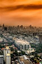 Preview iPhone wallpaper Bangkok, Thailand, city, buildings, red sky, dusk