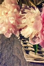 iPhone壁紙のプレビュー バスケット、ピンクの牡丹、光