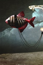 Preview iPhone wallpaper Bathtub car, girl, fish, bone, creative picture