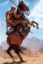 Preview iPhone wallpaper Battlefield 1, soldier, horse, desert