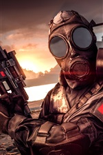 Preview iPhone wallpaper Battlefield 4, gas mask, soldier