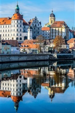 Preview iPhone wallpaper Bayern, Germany, castle, church, Danube river, bridge, city
