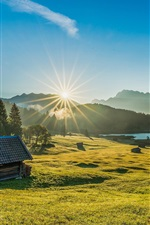 Preview iPhone wallpaper Bayern, Germany, grass, trees, hut, lake, sunrise, dawn