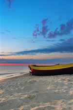 Preview iPhone wallpaper Beach, sea, boat, clouds, sunset