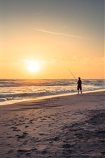 Preview iPhone wallpaper Beach, sea, waves, sunset, fisherman
