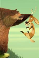 iPhone обои Медведь и олень, мультфильм