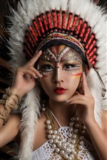 Preview iPhone wallpaper Beautiful Asian girl, makeup, decoration, feathers, Indian style