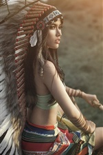 Beautiful Indian style girl, look back, headdress, feathers