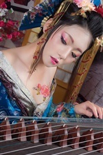 Beautiful Japanese girl, playing guzheng, retro style dress