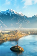 Beautiful Slovenia, Lake Bled, morning, haze, mountains, island
