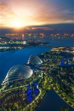 Preview iPhone wallpaper Beautiful city night, Singapore, sea, river, boats, buildings, lights