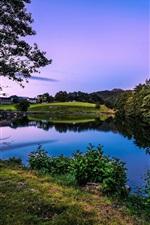 Beautiful dusk, Norway, Rogaland, houses, trees, greens, lake