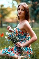 Preview iPhone wallpaper Beautiful girl in summer, skirt, flowers