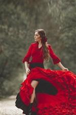 Beautiful red dress woman, pose, flower
