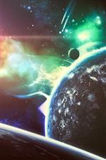 Belo espaço, estrelas, planeta, luz, brilho