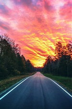 Preview iPhone wallpaper Beautiful sunset, red sky, road, trees