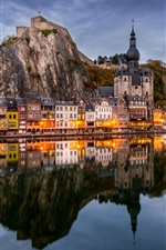 Belgium, Namur, river, water reflection, mountains, houses, lights, dusk