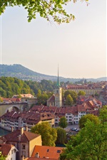 Preview iPhone wallpaper Bern, Switzerland, city, river, bridge, trees, houses