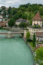 Berna, Suíça, rio, ponte, casas