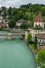 Preview iPhone wallpaper Bern, Switzerland, river, bridge, houses