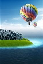 Preview iPhone wallpaper Bird's Nest Stadium, hot air balloon, sea water, creative design