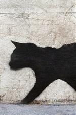 Preview iPhone wallpaper Black cat walk, graffiti, wall