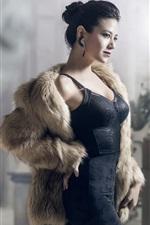 Preview iPhone wallpaper Black skirt Asian girl, coat