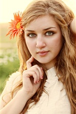 Preview iPhone wallpaper Blonde girl, face, flower, mood