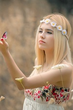 Preview iPhone wallpaper Blonde girl, wreath, butterfly