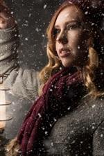 Preview iPhone wallpaper Blonde women, winter, snowy, lantern