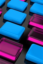 Preview iPhone wallpaper Blue and purple squares cubes background