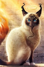 Preview iPhone wallpaper Blue eyes cat, fire tail, creative design