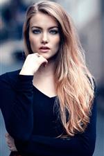 Blue eyes girl, makeup, street