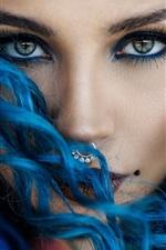 Blue hair girl face, look, makeup