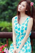 Preview iPhone wallpaper Blue skirt asian girl, pure, flowers