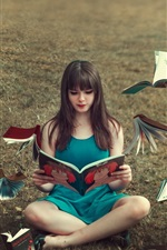Preview iPhone wallpaper Blue skirt girl read book, books flying