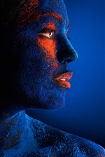 Preview iPhone wallpaper Blue style makeup girl, art photography