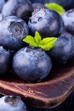 Preview iPhone wallpaper Blueberry macro photography, spoon