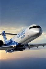 Preview iPhone wallpaper Bombardier CRJ1000 Regional Jetliner, sky, clouds, sunset