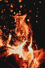 Preview iPhone wallpaper Bonfire, firewood, flame, sparks