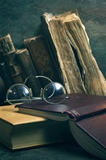 Preview iPhone wallpaper Books, glasses, candle, retro style