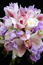 Preview iPhone wallpaper Bouquet, colorful flowers, rose, orchid, black background