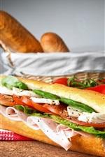 Pão, sanduíche, presunto, tomate, comida