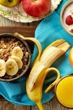 Preview iPhone wallpaper Breakfast, apples, banana, oranges, raspberry, muesli, juice
