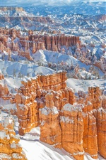 Bryce Canyon in winter, mountains, snow