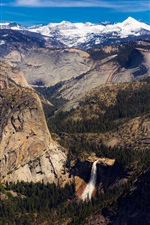 California, USA, beautiful nature landscape, mountains, waterfall, trees