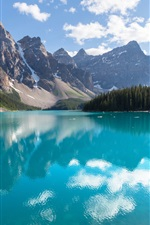 Preview iPhone wallpaper Canada, Banff National Park, lake, forest, trees, reflection