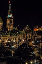 Preview iPhone wallpaper Canada, Ottawa, city, night, buildings, lights, trees